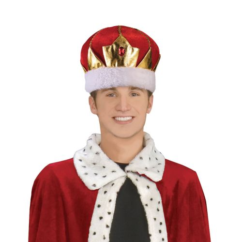 King Hat Red Soft Royal Regal Sire Medieval Leader Ruler Fancy Dress